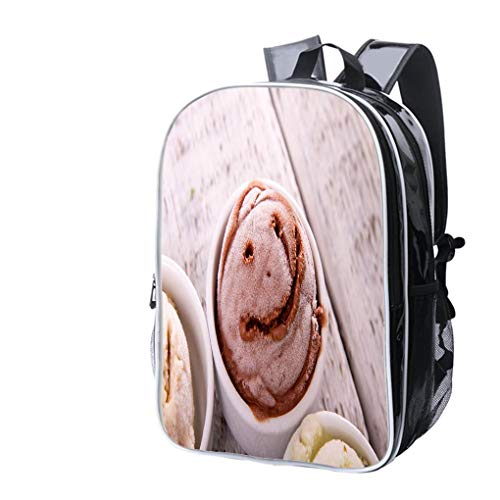 High-end Custom Laptop Backpack-Leisure Travel Backpack Happy Chocolate Flavor ice Cream Water Resistant-Anti Theft - Durable -Ultralight- Classic-School-Black ()