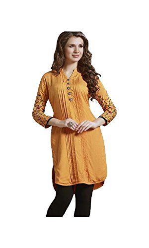 Jayayamala Frauen Gelb Baumwolle Damen Top Kurtis Kleid Fashion Button  Tunika mit 3/4 Ärmel Bestickte Tunika