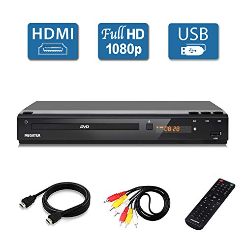 [Upgraded] Megatek Multi Region DVD Player, HDMI Full HD 1080p Upscaling, USB Direct Playback, Free 5-Feet HDMI Cable, Premium Middle Size Metal Case, New User-Friendly Remote Control (Vcr Player Only Used)