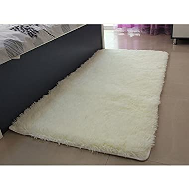 Super Soft Modern Shag Area Silky Smooth Rugs Living Room Carpet Bedroom Rug for Children Play Solid Home Decorator Floor Rug and Carpets 4- Feet By 5- Feet (White)