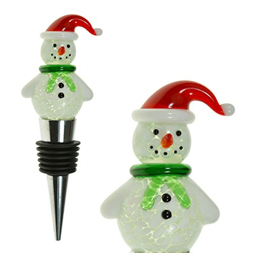 Glass Santa Snowman Wine Bottle Stopper (20+ Designs to Choose From) - Colorful, Unique, Handmade, Eye-Catching Decorative Wine Bottle Stopper with Flashing LED Light for Winter/Christmas