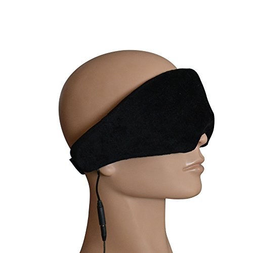 Langder Wired Eye Mask Headphone Music Sleeping Eyemask 3.5mm Audio built in Speaker Plug and Play No Power required Soft Memory Foam Material Washable design Color Black