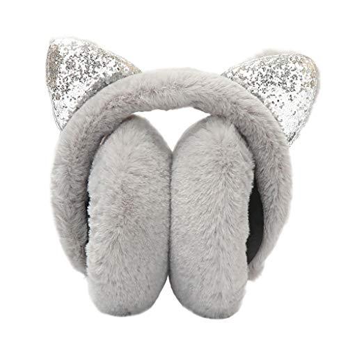 Muff Thinsulate Cozy (Women Girl Winter Earmuffs Sequins Cat Ears Design Windproof Warm Adjustable Fleece Earmuffs Gray)