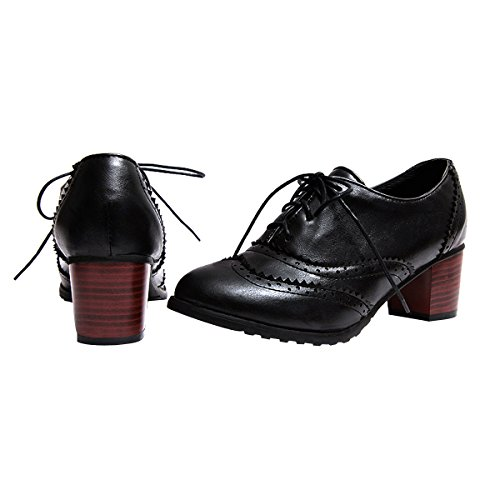 Dress Shoes Oxfords VFDB Mid Brogue Wingtip Lace Women Vintage Black Shoes Up Heel qTSZg6vw