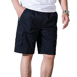 LOGEEYAR Men's Cotton Elastic Classic-Fit Lightweight Multi-Pocket Casual Short