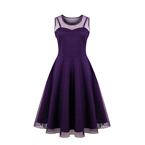 Kilolone Women's Vintage Sexy Plus Size Dress Excellent Gauze V-Neck Sleeveless Skirt (4XL,Purple)