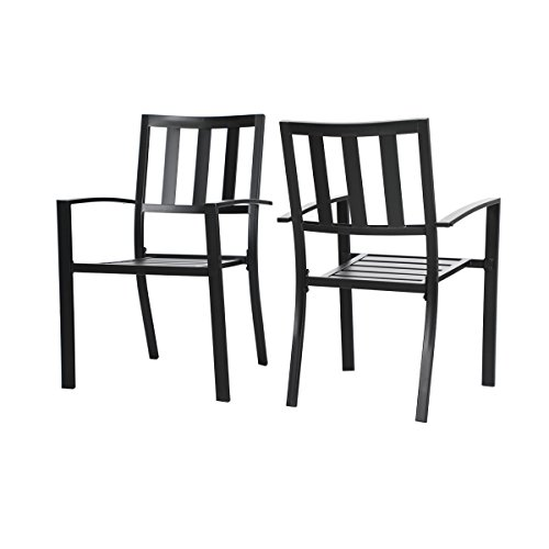 Cheap PHI VILLA Outdoor Patio Steel Slat Seat Dining Arm Chairs Set of 2 for Garden,Backyard,Living Room