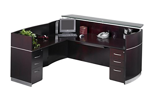 Safco Products Mayline Napoli Series Reception Station with 1-Box/Box/File Pedestals,
