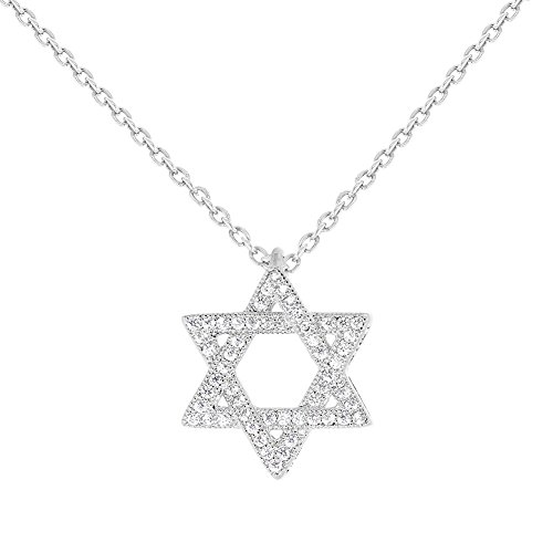 Star Of David White Necklace - In Season Jewelry Rhodium Plated Jewish Star of David White Clear CZ Pendant Necklace for Women 19