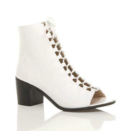 Mujer Mid Tacón Bajo de bloque de mujer LACE UP Ghillie Peep Toe cremallera tobillo botas tamaño Blanco - White Matte