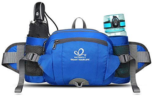 WATERFLY Gürteltasche mit Flaschenhalter, Gurt Verstellt Bauchtasche Hundetraining Handyfach Wasserdicht Hüfttasche für…