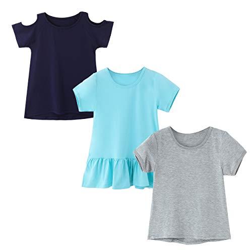 IRELIA 3 Pack Girls Crew Neck Tee Short Sleeve Shirts Mix NaGrBlu XXS -