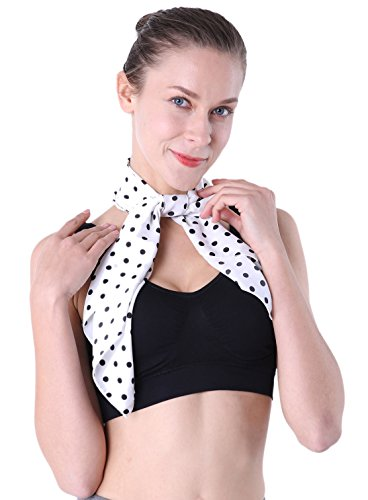 White Polka Dot Scarf 50s 26