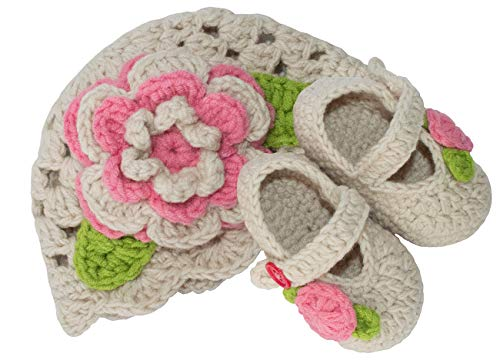 Hat Bootie Set - BePe Baby Infant Crochet Bootie Socks and Hat Set - Light Beige/Pink Flower - Size 0-3 Months