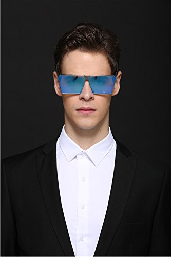 Square Oversized Sunglasses Top Flat Sunglasses CVOO Frame Blue Metal Pq1xwggB