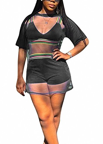 Ophestin Women Short Sleeve 3 Piece Outfits Rompers Strap Stripe Crop Top Shorts Set with Mesh Cover Up Shirt Black -