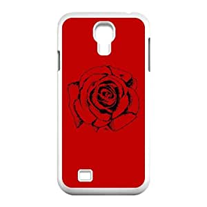 Samsung Galaxy S4 9500 Cell Phone Case White Rose Drawing Y7P6L