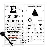 Elite Medical Instruments EMI OCC-WSK 3 Piece Set - Occluder Plus Snellen and Kindergarten/Children Plastic Eye Vision Exam Test Wall Charts 22 by 11 in.