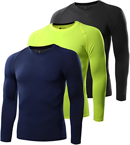 Men's Compression Shirt Sport Performance Crewneck Long-sleeve T Shirt(3 Pack-Black/Navy blue/Neon - Navy Neon Blue