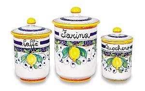 Hand Painted Alcantara Flour Canister From Italy by Umbria Alcantara