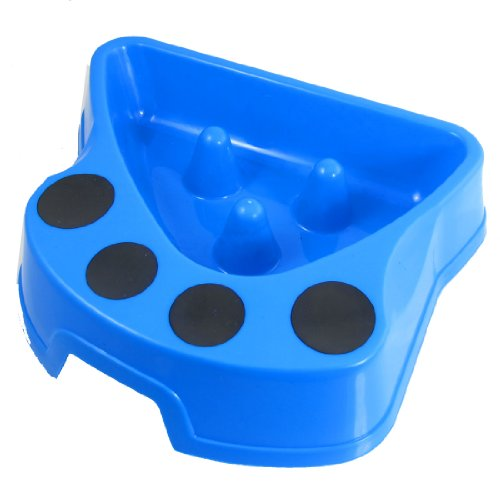 uxcell Plastic Dog Cat Pet Slow Feed Bowl Feeder Dish, 2″, Blue