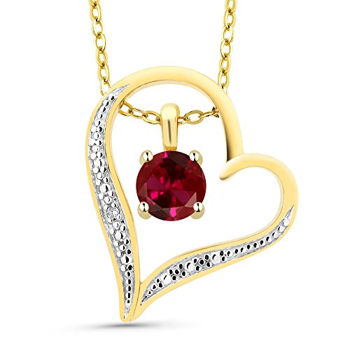 Round Created Ruby 18K 2-Tone Gold Plated Silver Diamond Accent Heart Pendant
