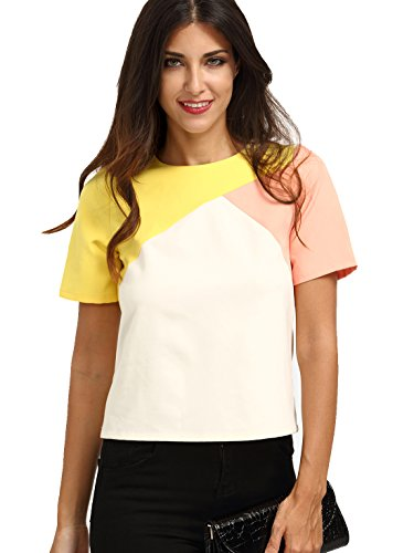 Romwe Womens Color Block Short Sleeve Back Zipper T-Shirt Top Blouse