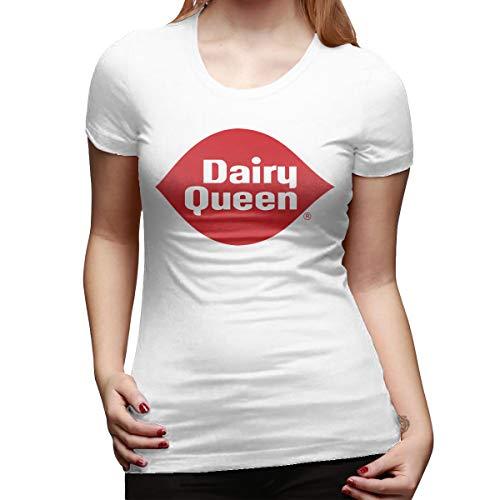 - CSDQC Women's Designed Cute Tees Dairy Queen Logo DQ Logo Short Sleeve New Tshirt White XL