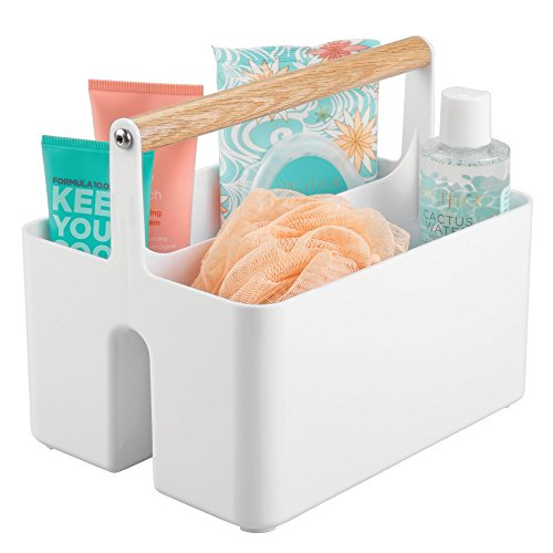 - mDesign Bathroom Storage Organizer Caddy Tote, Portable Divided Basket Bin with Natural Wood Handle - BPA Free, 2 Sections for Holding Hand Soap, Body Wash, Shampoo, Conditioner, Lotion - White