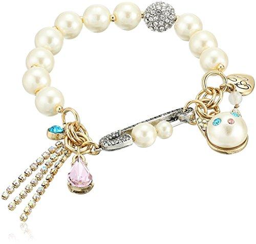 Betsey Johnson Bracelet Womens (Betsey Johnson Angel Cat Pearl Charm Bracelet)