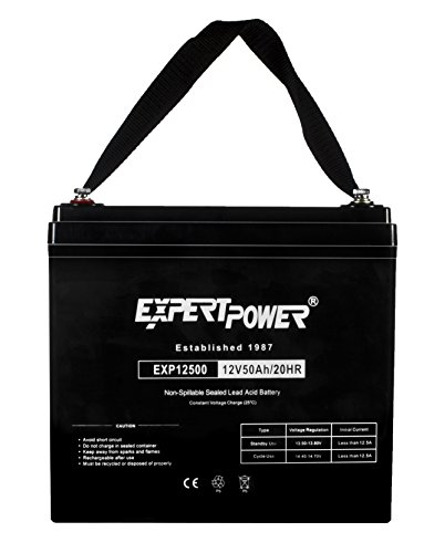 ExpertPower 12 Volt 50 Amp Deep Cycle Sealed Lead Acid Wheelchair Medical Mobility Rechargeable Battery Replaces Interstate DCM0040 Alpha Cell SMU-HR 12-40 40ah Power-Sonic PS-12400 CSB EVX12400 [EXP12500]