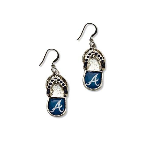 Atlanta Braves Logo Crystal - MLB Atlanta Braves Crystal Flip Flop Earrings