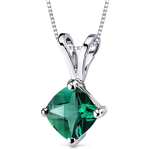 (14 Karat White Gold Cushion Cut 0.75 Carats Created Emerald Pendant)