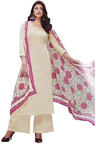 70bf9ca82e Madeesh Pakistani Suit for Women, Party Wear, Self Embroidery Pure Cotton  Top, Embroidery Work Top/Neck, Semi Lawn Bottom, Printed Mal Mal Cotton  Dupatta, ...
