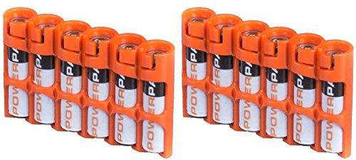 2 x Powerpax Slim Line AAA Battery Caddy, Orange - Each Holds 6 AAA Batteries
