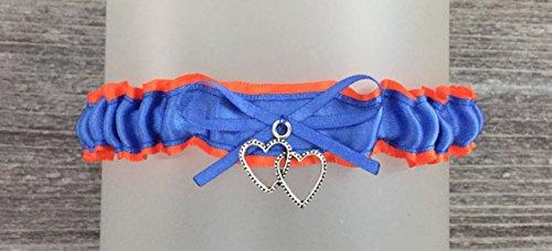 Royal Blue Orange Satin Wedding Tossing Demi Bridal Garter - Double Heart -