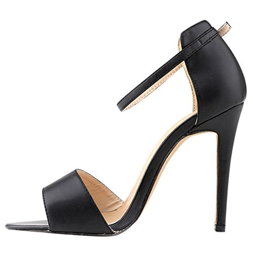 Fereshte Ladies Womens Ankle Strap High Stiletto Heel Office Sandal 14 Colours Black GhN8iWv