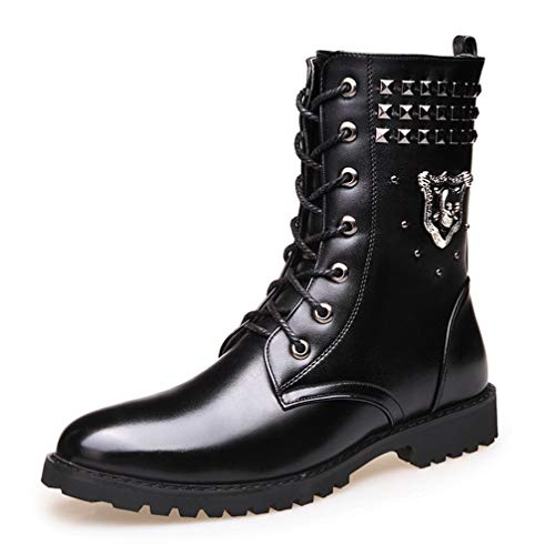 Phil Betty Mens Martin Boots Winter Warm Non-Slip Wear-Resistant Round Toe High Tube Boots