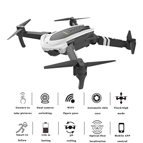 Drone-2019-2.4G 1080P-Foldable-HD-Camera-Selfie-WIFI-FPV-Follow-Me-Quadcopter-Screwdriver,Remote-Phone-APP-Control-RC-Helicopter-Drones-Quadcopter-Outdoor-Flying-Toys-For-Beginners-Adults-Kids (Black)