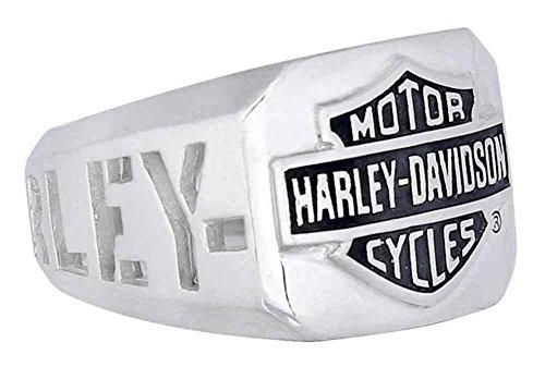 Harley-Davidson Men's H-D Cut Out Bar & Shield Emblem Ring, Silver HDR0327 (9) ()