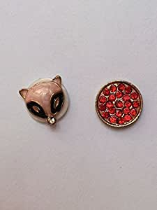 LYYF New Popular and Cute 1 PCS Pink Fox and 1 PCS Red Diamond Rotary Table Phone Home Return Keys Buttons Sticker for Iphone 4/4s/5/5s/5c ,Ipad,ipod Touch and so On
