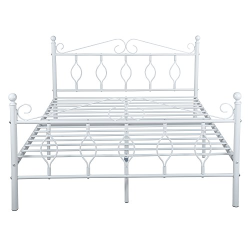 GreenForest Full Bed Frame Metal Platform Complete Bed with Vintage Headboard and Footboard Box Spring Replacement Steel Slats Bed, White Full