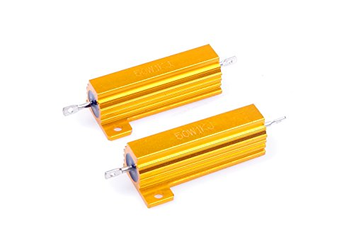 - LM YN 50 Watt 1K Ohm 1000 Ohm 5% Wirewound Resistor Electronic Aluminium Shell Resistors Gold Suitable For Inverter, LED lights, Frequency Divider, Servo Industry And Other Industrial Control