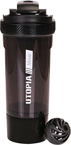 Classic Protein Mixer Shaker Bottle (24-Ounce Bottle) with Twist and Lock Protein Box Storage - Flip Cap and Tapered Spout - by Utopia Home (Black)