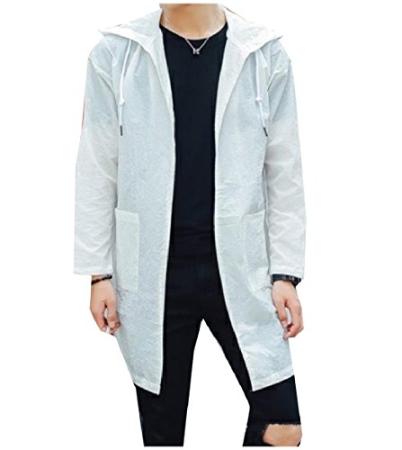Howme-Men Comfy Hooded Sunscreen Zip Pure Colour Trench Coat Jacket White