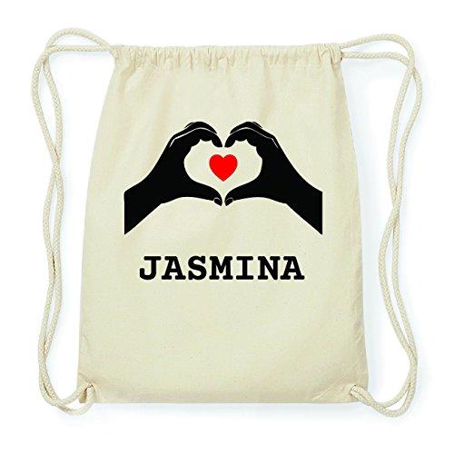 JOllify JASMINA Hipster Turnbeutel Tasche Rucksack aus Baumwolle - Farbe: natur Design: Hände Herz MrMwO