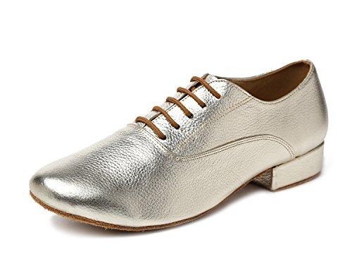 Minitoo GL208 Men's Solid Leather Latin Ballroom Professional Social Dance Shoes Gold W3qoD