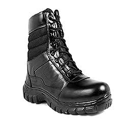Para commando Mens Black Genuine Leather Army Casual Shoes