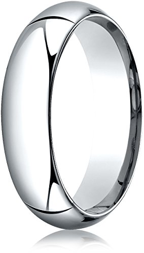 Benchmark 14K White Gold 6mm High Dome Heavy Comfort-Fit Wedding Band Ring , Size 10 ()