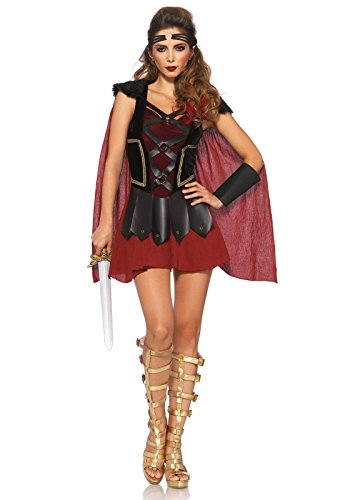 [Leg Avenue Women's 4 Piece Trojan Warrior Costume, Black/Burgundy, Small/Medium] (Trojan Halloween Costumes)
